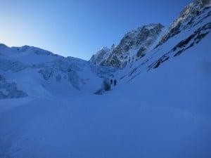 au lever du jour sur le glacier d'argentière